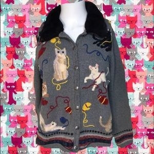 Crazy cat lady vintage Cardigan Sweater